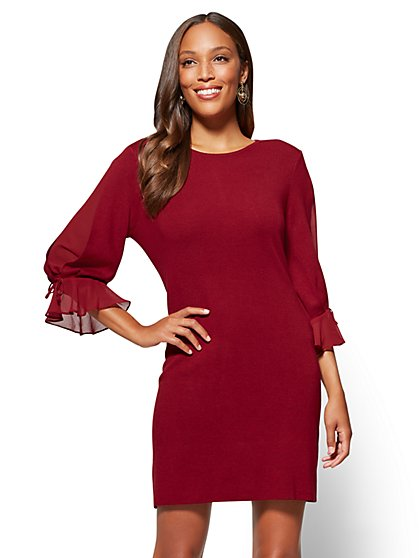 Chiffon-Sleeve Sweater Dress - New York & Company