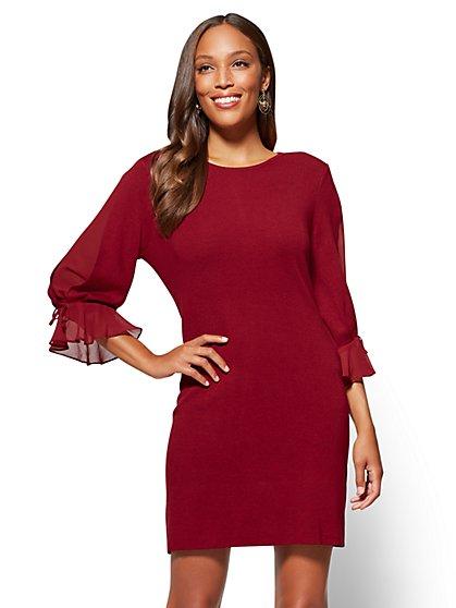 Chiffon-Sleeve Sweater Dress - New York & Company