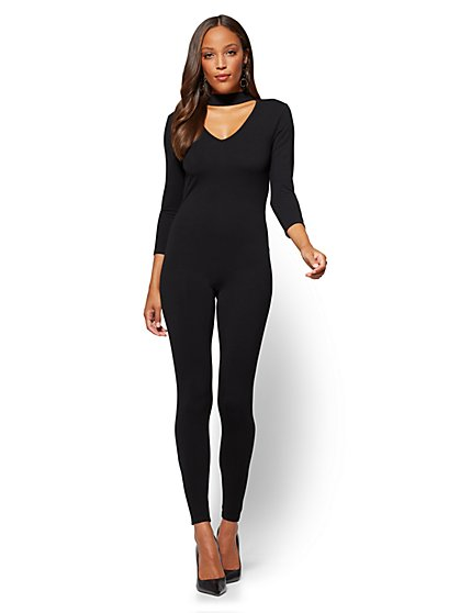 Choker Catsuit - Black - New York & Company