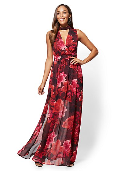 Choker Maxi Dress - Floral - New York & Company