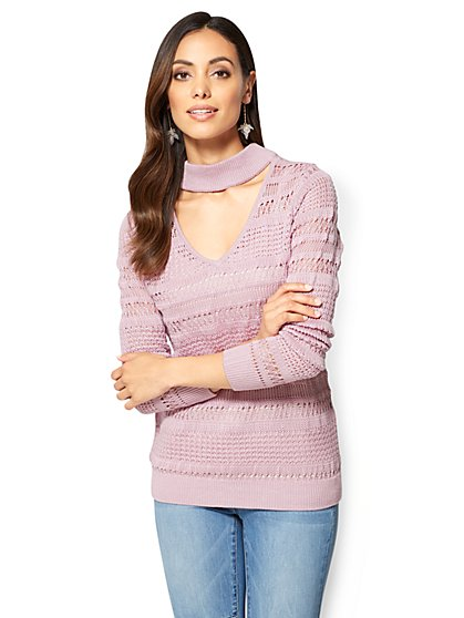 Choker V-Neck Sweater  - New York & Company
