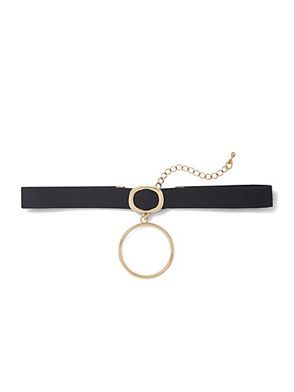 Circle Pendant Choker Necklace  - New York & Company