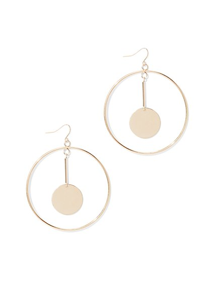 Circle Pendant Hoop Drop Earring  - New York & Company