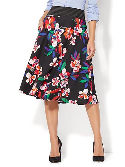 Circle Skirt - Black Floral Print - New York & Company
