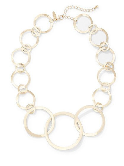 Circular Link Statement Necklace  - New York & Company