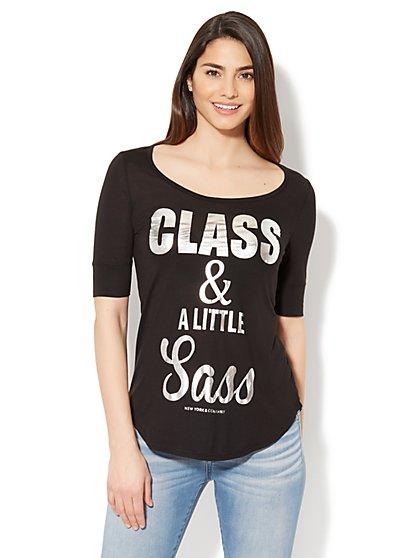 Class & A Little Sass Graphic Logo Tee - New York & Company