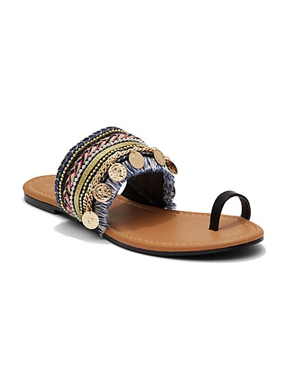 Coin-Trim Fringed Sandal  - New York & Company
