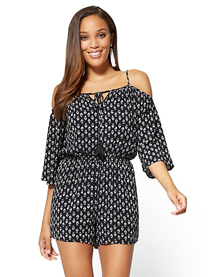 Cold-Shoulder Bell-Sleeve Romper - Print - New York & Company
