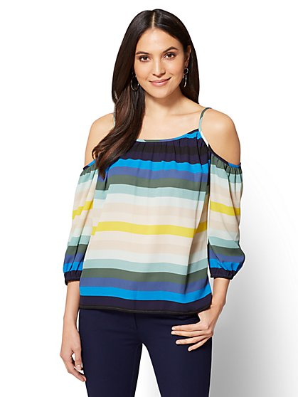 Cold-Shoulder Blouse - Stripe - New York & Company