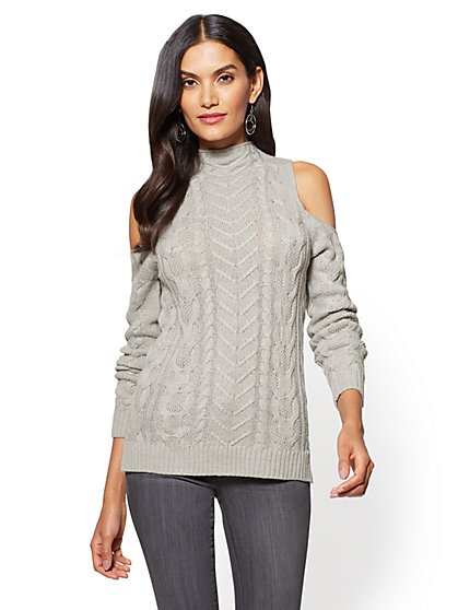 Cold-Shoulder Cable-Knit Tunic Sweater - New York & Company
