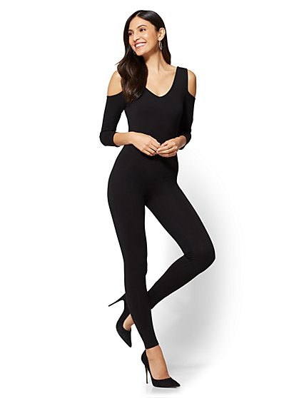 Cold-Shoulder Catsuit - Black - New York & Company
