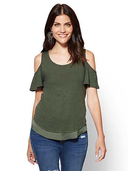 Cold-Shoulder Chiffon-Hem Tee - New York & Company