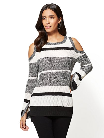 Cold-Shoulder Crewneck Sweater - Stripe - New York & Company