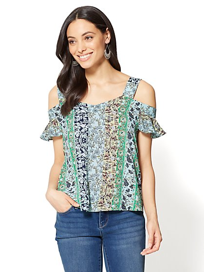 Cold-Shoulder Floral Blouse - New York & Company