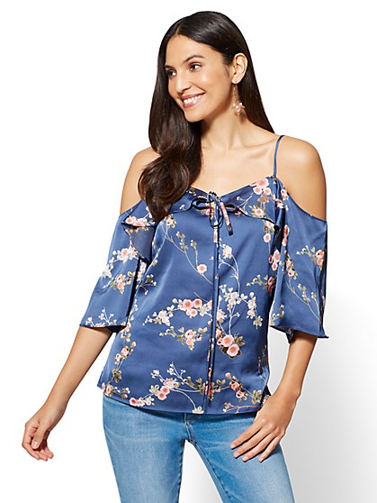 Cold-Shoulder Halter Blouse - Floral - New York & Company