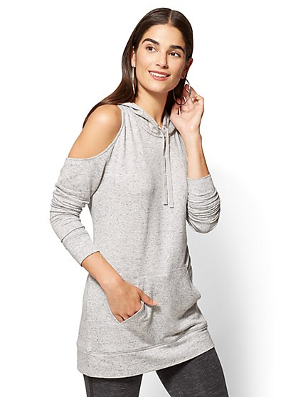 Cold-Shoulder Hooded Sweatshirt Tunic - New York & Company