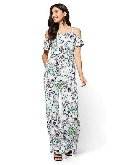 Cold-Shoulder Jumpsuit - Paisley - New York & Company