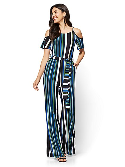 Cold-Shoulder Jumpsuit - Stripe - New York & Company