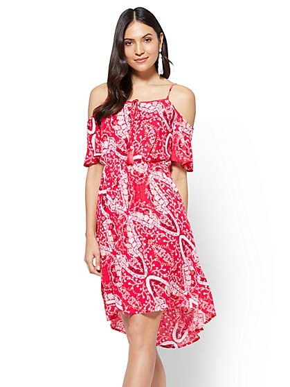 Cold-Shoulder Lace-Up Dress - New York & Company