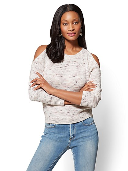 Cold-Shoulder Marled Sweater - New York & Company