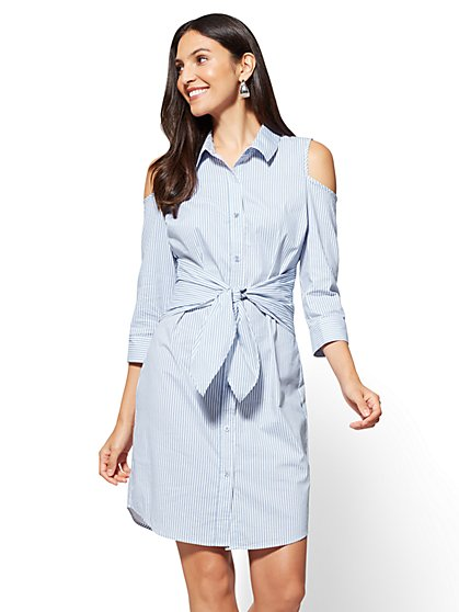 Cold-Shoulder Poplin Dress - Stripe - New York & Company