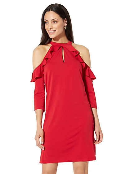 Cold-Shoulder Ruffle Shift Dress - New York & Company