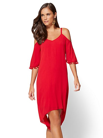 Cold-Shoulder Sharkbite-Hem Dress - New York & Company