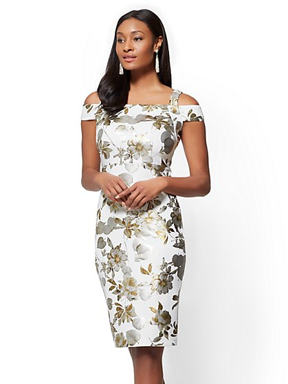 Cold-Shoulder Sheath Dress - Floral - New York & Company