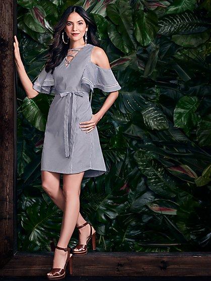 Cold-Shoulder Shift Dress - Black & White Stripe - New York & Company