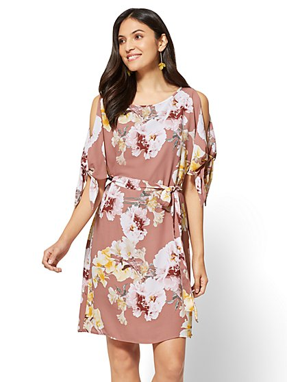 Cold-Shoulder Shift Dress - Floral - New York & Company