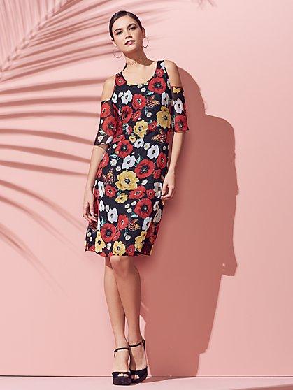 Cold-Shoulder Shift Dress - Floral - New York & Company