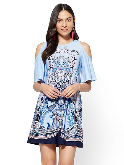 Cold-Shoulder Shift Dress - Scroll Print - New York & Company