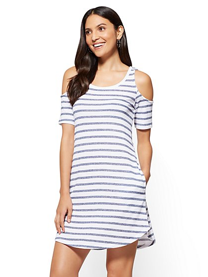 Cold-Shoulder Shift Dress - Stripe - New York & Company