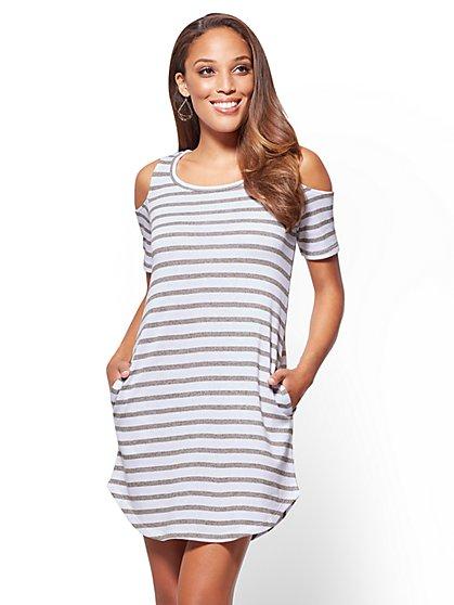 Cold-Shoulder Shift Dress - Stripe - New York & Company