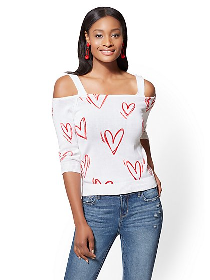 Cold-Shoulder Square-Neck Sweater - Heart Print - New York & Company