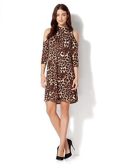 Cold Shoulder Swing Dress – Leopard - New York & Company