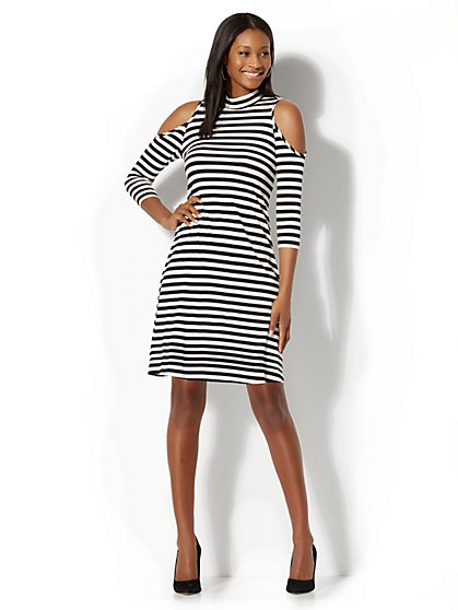 Cold Shoulder Swing Dress - Stripe - New York & Company