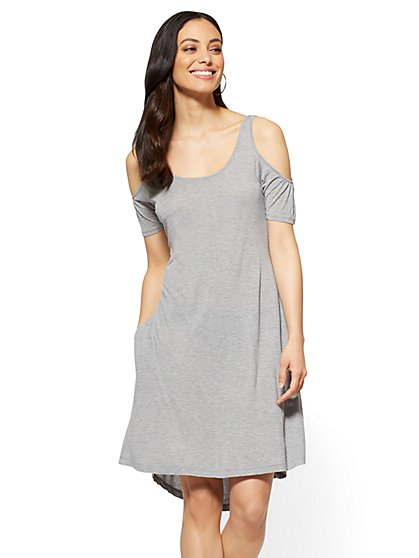 Cold Shoulder Swing Dress - New York & Company