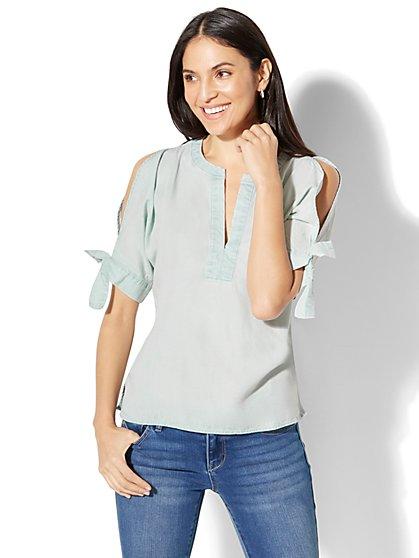 Cold-Shoulder Ultra-Soft Chambray Shirt - New York & Company