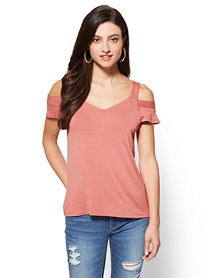 Cold-Shoulder V-Neck Top - New York & Company