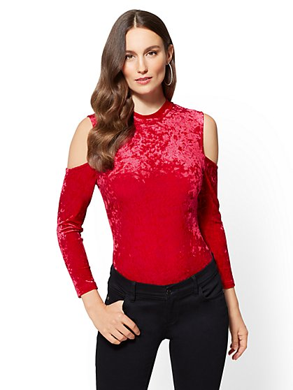 Cold-Shoulder Velvet Bodysuit - New York & Company