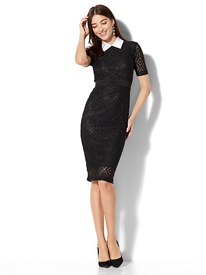 Collared Lace-Overlay Sheath Dress  - New York & Company