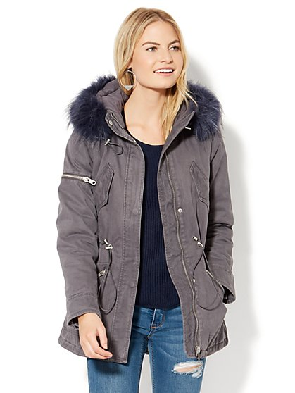 Color Faux-Fur Trim Anorak - New York & Company