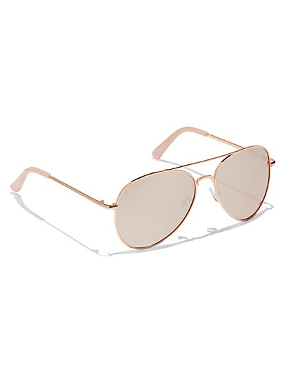 Color Mirror Aviator Sunglasses  - New York & Company