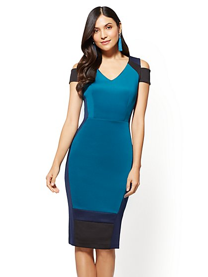 Colorblock Cold-Shoulder Sheath Dress - New York & Company