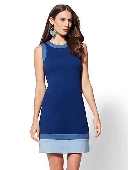 Colorblock Cotton Shift Dress - New York & Company