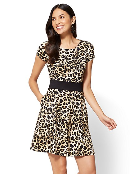 Colorblock Fit and Flare Dress - Leopard Print  - New York & Company