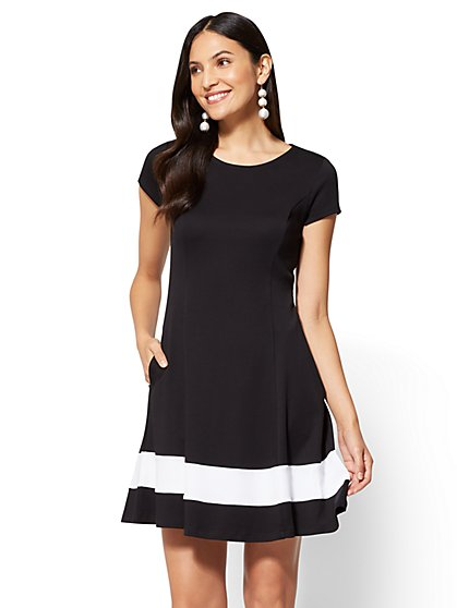 Colorblock Fit and Flare Dress  - New York & Company