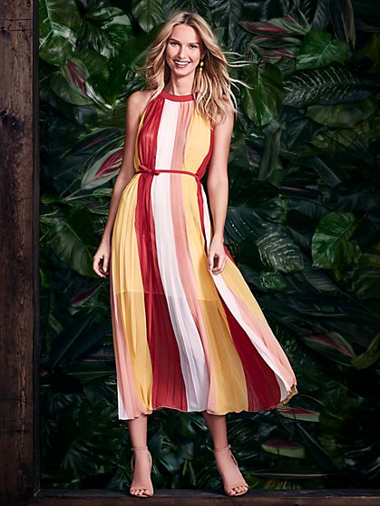 Colorblock Halter Maxi Dress - New York & Company