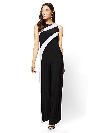 Colorblock Jumpsuit - Black/White - New York & Company